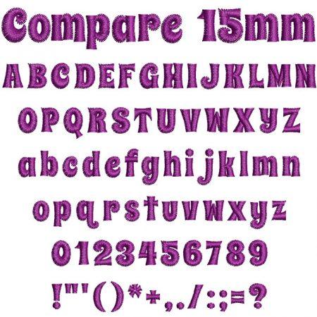 Compare 15mm Font