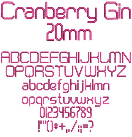 Cranberry Gin 20mm Font