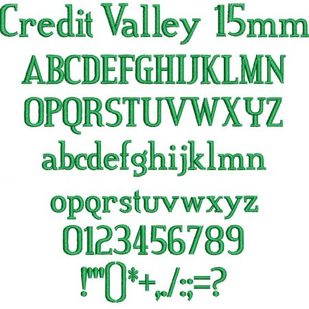 Credit Valley 15mm Font