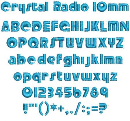 Crystal Radio 10mm Font