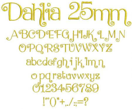 Dahlia 25mm Font
