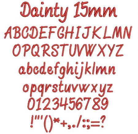 Dainty 15mm Font