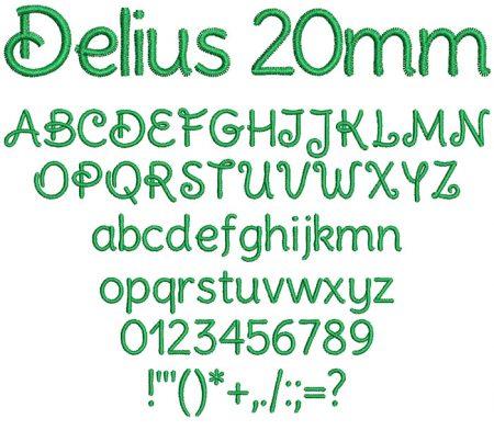 Delius 20mm Font