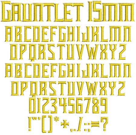 Gauntlet 15mm Font