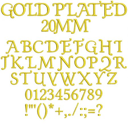 Gold Plated 20mm Font