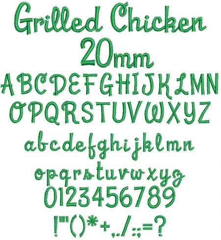 Grilled Chicken 20mm Font