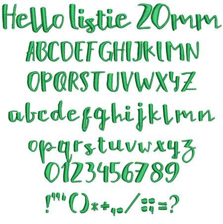 Hellow Listie 20mm Font