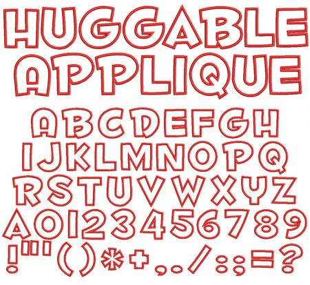 Huggable Applique 50mm Font