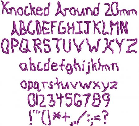 Knocked Around 20mm Font