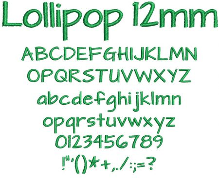Lollipop 12mm Font