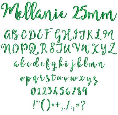 Mellanie 25mm Font