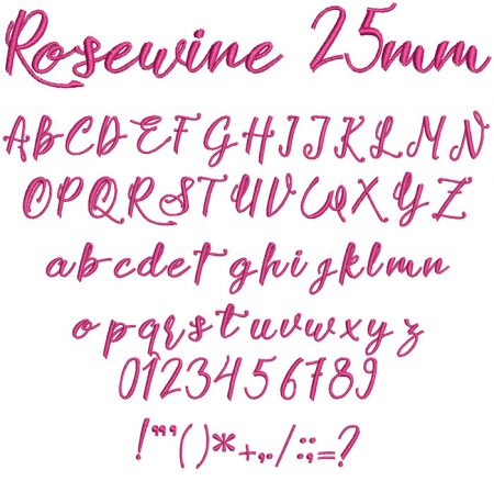 Rosewine 25mm Font