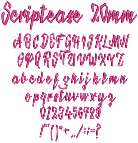 Scriptease 20mm Font