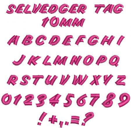 Selvedger Tag 10mm Font