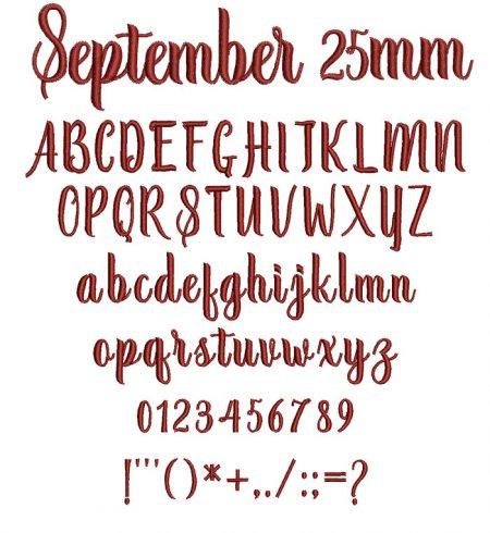 September 25mm Font
