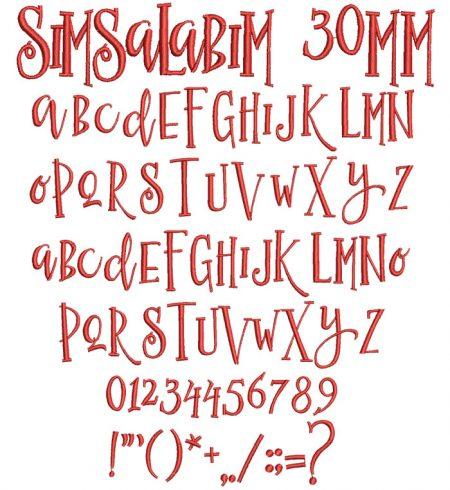Simsalabim 30mm Font