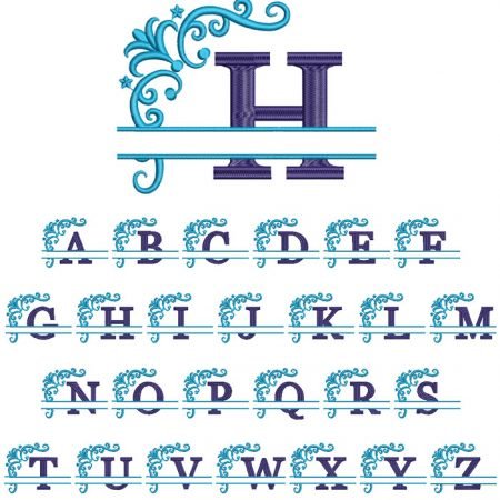 Split 2 Color Monogram 100mm Font