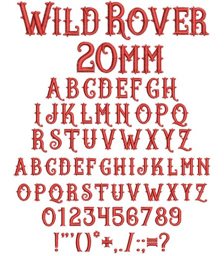 Wild Rover 20mm Font