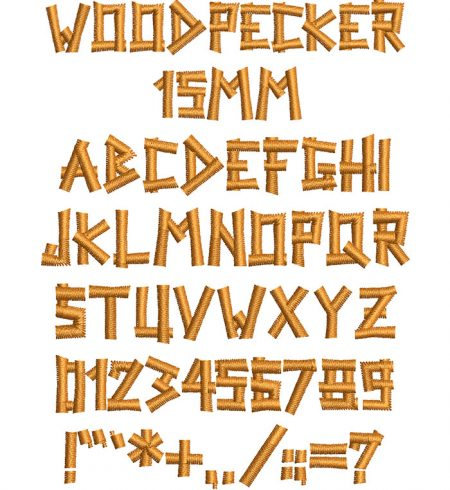 Woodpecker 15mm Font