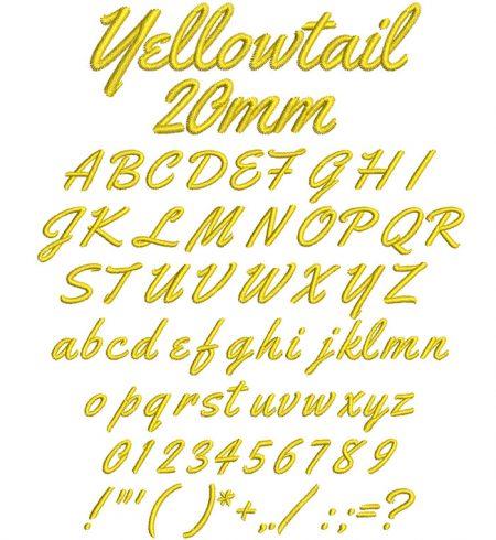 Yellowtail 20mm Font