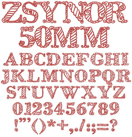 Zsynor 50mm Font