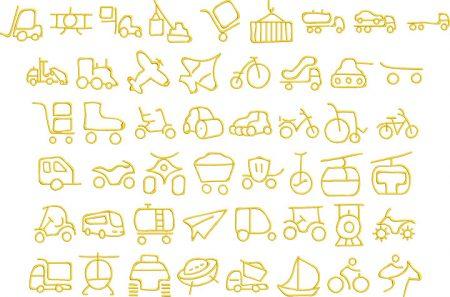 transport 2 glyphs icon