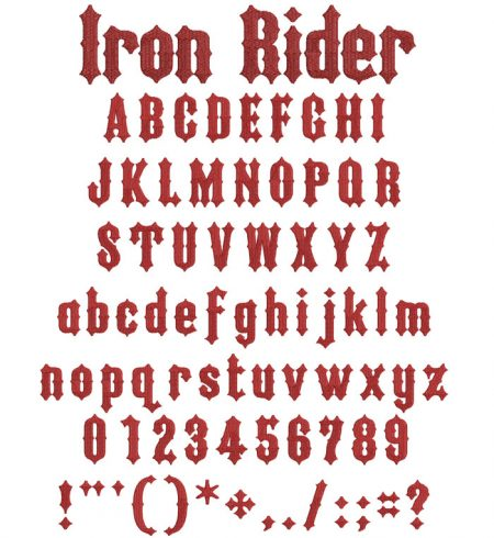 Iron Rider flexi fill esa font