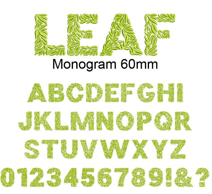 Leaf monogram 60mm esa font
