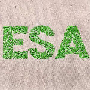 leaf monogram sew out